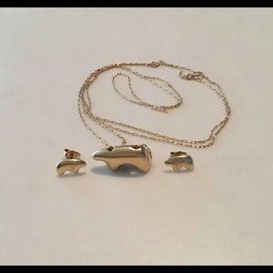 14K Golden Bear Necklace & Earrings, Vail Valley